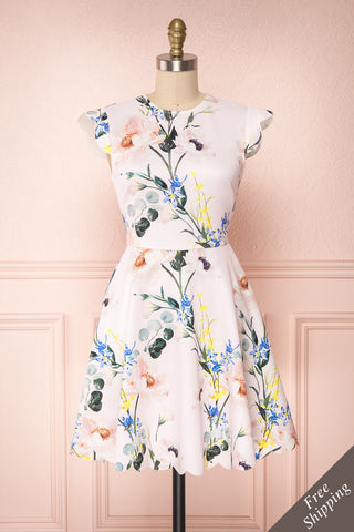 Fukagawa Pink Floral Scallops A-Line Ted Baker Dress | Boutique 1861