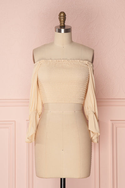 Fusako Beige Fitted Off-Shoulder Crop Top | Boutique 1861 1