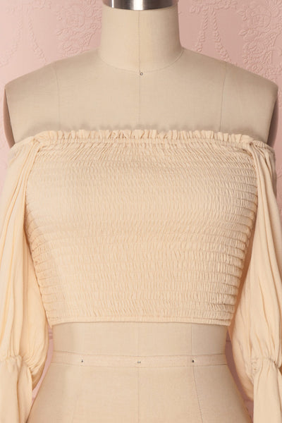 Fusako Beige Fitted Off-Shoulder Crop Top | Boutique 1861 2