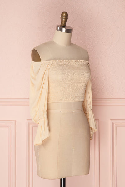 Fusako Beige Fitted Off-Shoulder Crop Top | Boutique 1861 3