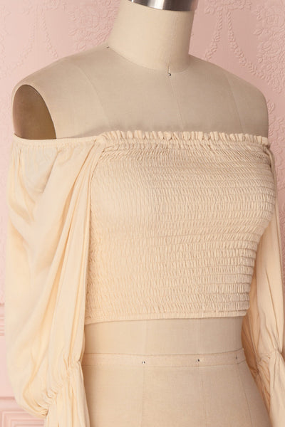Fusako Beige Fitted Off-Shoulder Crop Top | Boutique 1861 4