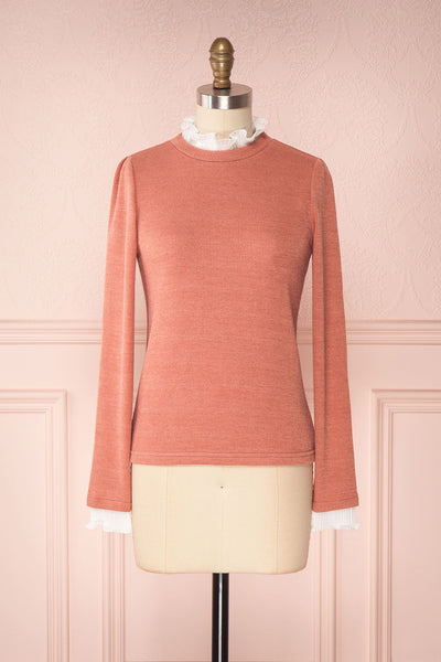 Gadiela Pink Ribbed Knit Top with Pleated Details | Boutique 1861 1