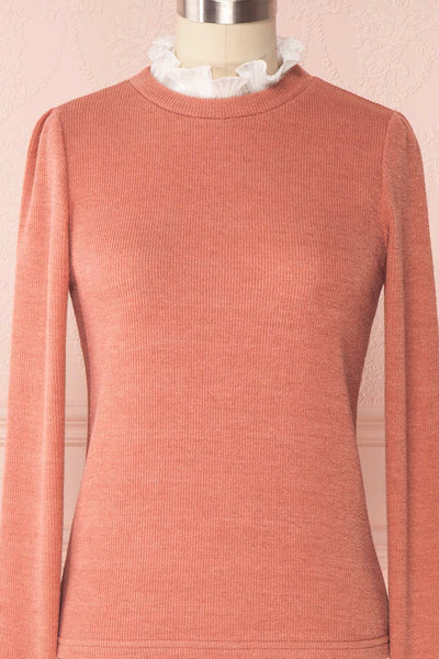 Gadiela Pink Ribbed Knit Top with Pleated Details | Boutique 1861 2
