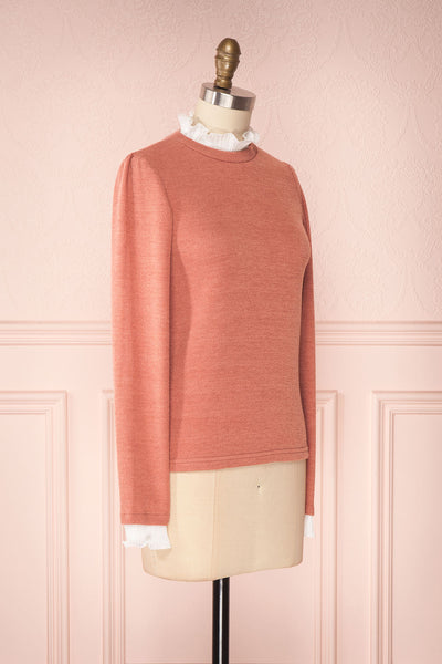 Gadiela Pink Ribbed Knit Top with Pleated Details | Boutique 1861 3