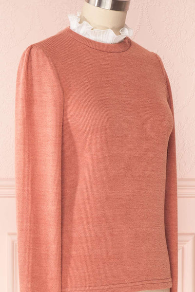 Gadiela Pink Ribbed Knit Top with Pleated Details | Boutique 1861 4