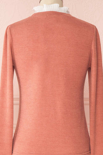 Gadiela Pink Ribbed Knit Top with Pleated Details | Boutique 1861 6