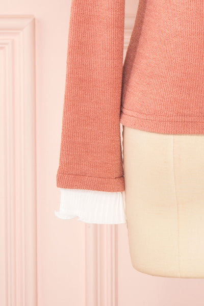 Gadiela Pink Ribbed Knit Top with Pleated Details | Boutique 1861 7