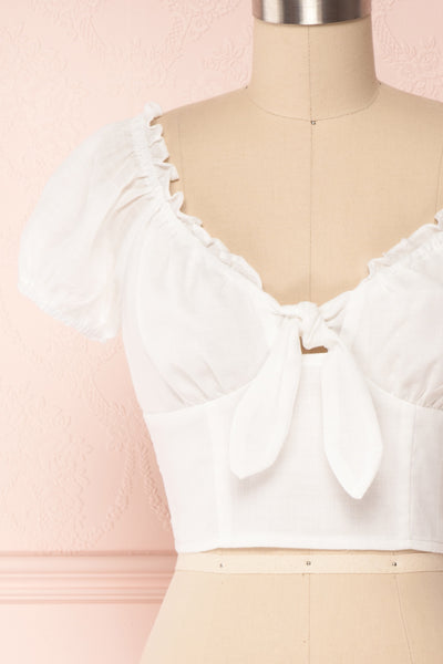 Gallegos White Tied Off-Shoulder Neckline Crop Top | Boutique 1861 2