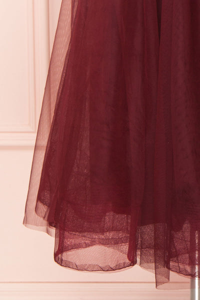 Galynne Bourgogne Party Dress | Robe en Tulle skirt close up | Boutique 1861