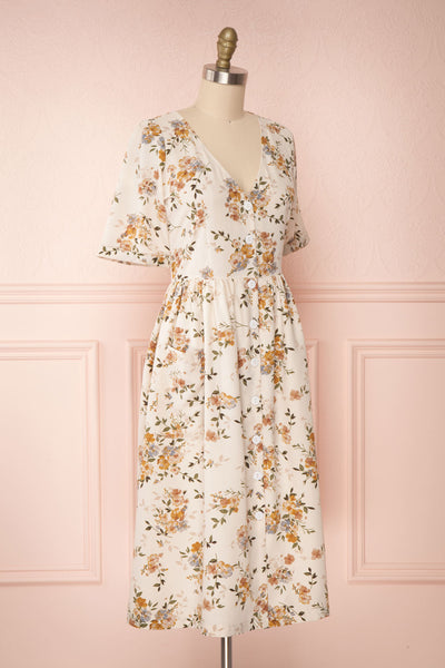 Gandiva White Floral Button-Up Dress | Boutique 1861 side view