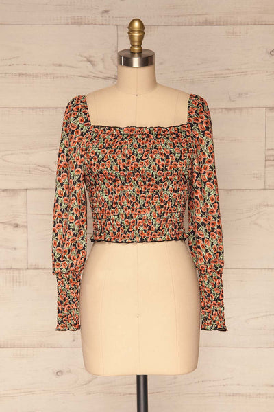 Garwolin Orange & Green Floral Crop Top | La Petite Garçonne 1