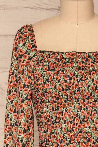 Garwolin Orange & Green Floral Crop Top | La Petite Garçonne 2