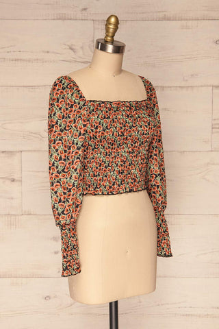 Garwolin Orange & Green Floral Crop Top | La Petite Garçonne 3