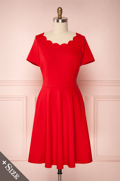 Gatho Rouge Red Plus Size A-Line Cocktail Dress | Boutique 1861