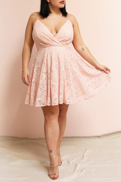 Gavina Blush Lace A-Line Party Dress | Boutique 1861 on model