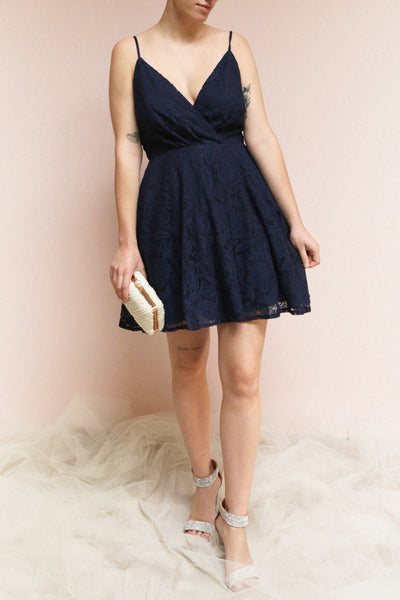 Gavina Navy Lace A-Line Party Dress | Boutique 1861 on model