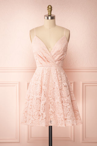 Gavina Blush Lace A-Line Party Dress | Robe | Boutique 1861 front view