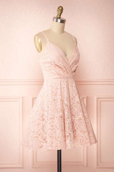 Gavina Blush Lace A-Line Party Dress | Robe | Boutique 1861 side view