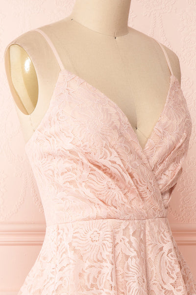Gavina Blush Lace A-Line Party Dress | Robe | Boutique 1861 side close-up
