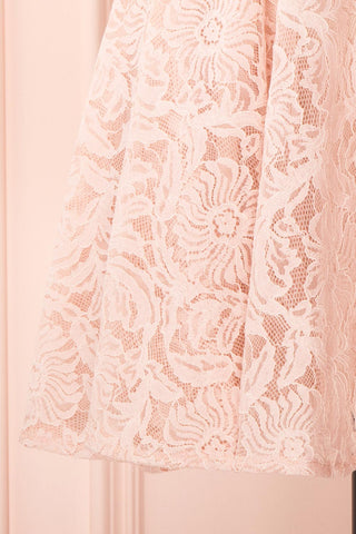 Gavina Blush Lace A-Line Party Dress | Robe | Boutique 1861 bottom close-up