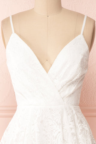 Gavina Ivory Lace A-Line Party Dress | Robe | Boutique 1861 front close-up