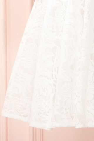 Gavina Ivory Lace A-Line Party Dress | Robe | Boutique 1861 bottom close-up