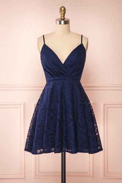 Gavina Navy Lace A-Line Party Dress | Robe | Boutique 1861 front view
