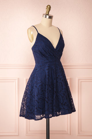 Gavina Navy Lace A-Line Party Dress | Robe | Boutique 1861 side view