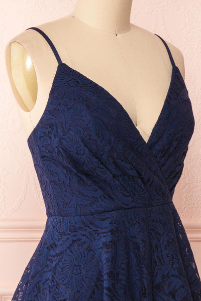 Gavina Navy Lace A-Line Party Dress | Robe | Boutique 1861 side close-up