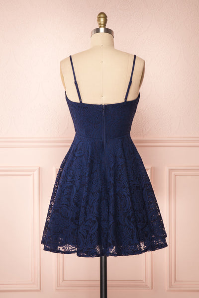 Gavina Navy Lace A-Line Party Dress | Robe | Boutique 1861 back view