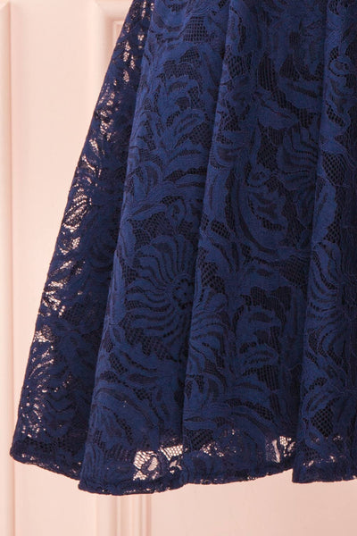 Gavina Navy Lace A-Line Party Dress | Robe | Boutique 1861 bottom close-up