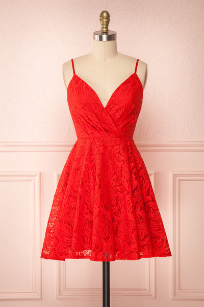 Gavina Red Lace A-Line Party Dress | Robe | Boutique 1861 front view