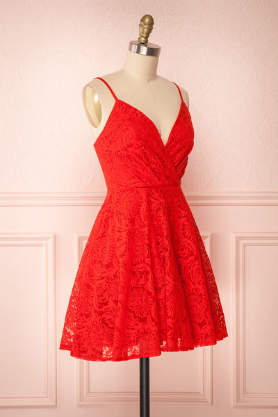 Gavina Red Lace A-Line Party Dress | Robe | Boutique 1861 side view