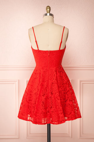 Gavina Red Lace A-Line Party Dress | Robe | Boutique 1861 back view