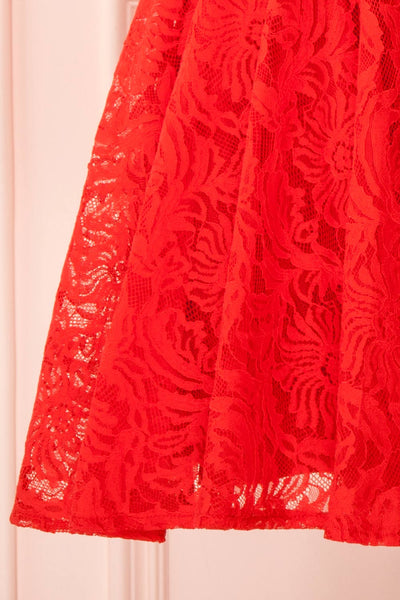 Gavina Red Lace A-Line Party Dress | Robe | Boutique 1861 bottom close-up