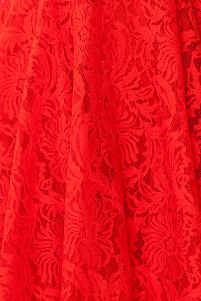 Gavina Red Lace A-Line Party Dress | Robe | Boutique 1861 fabric detail