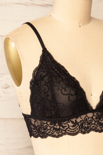 Genk Black Lace Bralette | La petite garçonne  side close-up