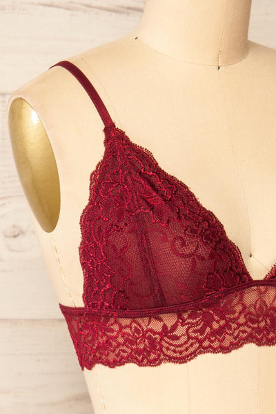 Genk Burgundy Lace Bralette | La petite garçonne  side close-up