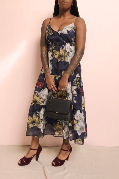Genoise Navy Floral A-Line Midi Dress | Boutique 1861 model look