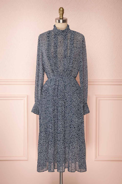 Georgiy Navy Blue Floral Midi Dress with Puff Sleeves  | FRONT VIEW | Boutique 1861