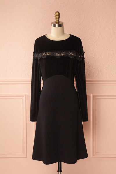 Géromina Black Velvet Dress with Openwork Lace | Boutique 1861