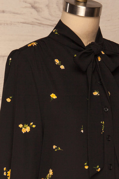 Gersende Yellow Floral Chiffon Shirt | Chemise side close up | La Petite Garçonne