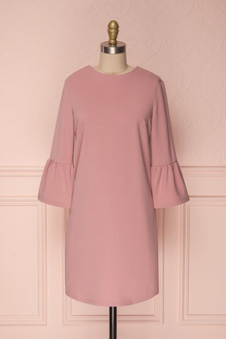 Ghie Pink Shift Dress with Bell Sleeves | Boutique 1861