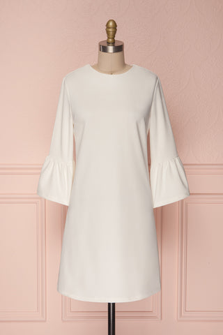 Ghie White Shift Dress with Bell Sleeves | Boutique 1861