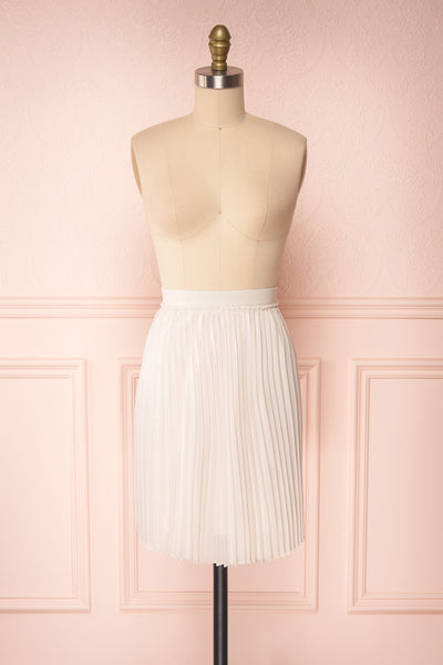 Ghislaine Off-White Pleated Skirt front view | Boutique 1861