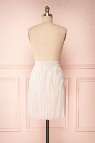 Ghislaine Off-White Pleated Skirt back view | Boutique 1861