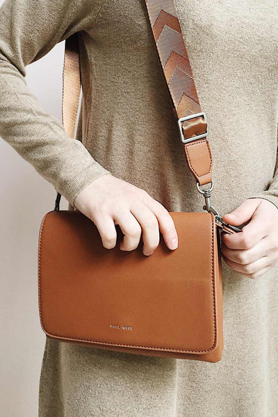 Gianna Cognac Faux-Leather Pixie Mood Handbag | La Petite Garçonne on model