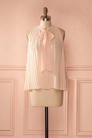 Giorgina - Light pink pleated veil top