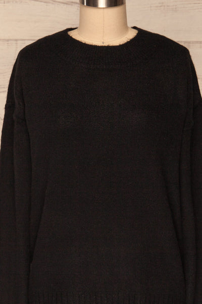 Gistel Black Soft Knit Sweater | La Petite Garçonne front close-up