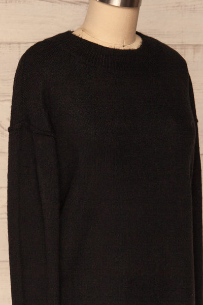 Gistel Black Soft Knit Sweater | La Petite Garçonne side close-up